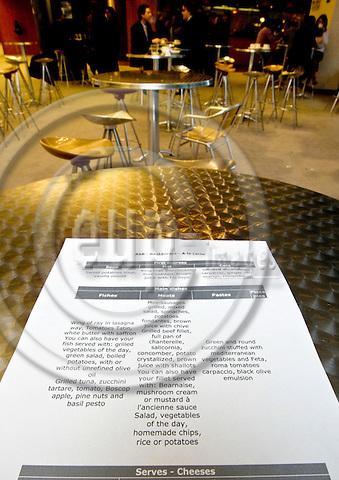 BRUSSELS - BELGIUM - 28 FEBRUARY 2008 -- The menu a la carte of the MEP's restaurant in the EU-Parliament. -- PHOTO: Juha ROININEN / EUP-IMAGES