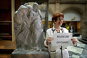 Kelvingrove Art Gallery and Museum about to re-open (on Tuesday) after a multi-million pound refurbishment - Lord Provost Liz Cameron signals the opening.... Picture by Donald MacLeod 6.7.06