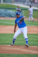 Ogden Raptors starting pitcher Alfredo Tavarez (30) delivers a pitch to the plate against the Grand Junction Rockies at Lindquist Field on June 17, 2019 in Ogden, Utah. The Rockies defeated the Raptors 9-0. (Stephen Smith/Four Seam Images)