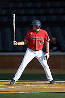 Logan Mathieu (55) of the Liberty Flames at bat against the Wake Forest Demon Deacons at David F. Couch Ballpark on April 25, 2018 in  Winston-Salem, North Carolina.  The Demon Deacons defeated the Flames 8-7.  (Brian Westerholt/Four Seam Images)