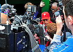 13 April 2009: Philadelphia Phillies' Third Base Coach Sam Perlozzo speaks to the media after the announcement of the tragic death of Phillies' broadcaster Harry Kalas just prior to the Washington Nationals' Home Opener at Nationals Park in Washington, DC. The Nats fell short in their 9th inning rally, losing 9-8, and marking their 7th consecutive loss of the 2009 season. Mandatory Credit: Ed Wolfstein Photo