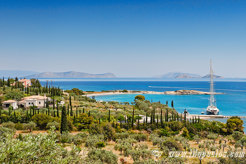 Country houses with harbor on the south side of Spetses island, Greece