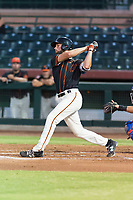 AZL Giants Black first baseman Zander Clarke (9) follows through on his swing during an Arizona League game against the AZL Rangers at Scottsdale Stadium on August 4, 2018 in Scottsdale, Arizona. The AZL Giants Black defeated the AZL Rangers by a score of 6-3 in the second game of a doubleheader. (Zachary Lucy/Four Seam Images)