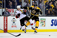Tuesday, March 21, 2017: Ottawa Senators right wing Bobby Ryan (9) and Boston Bruins defenseman Brandon Carlo (25) get tangled during the National Hockey League game between the Ottawa Senators and the Boston Bruins held at TD Garden, in Boston, Mass. Eric Canha/CSM