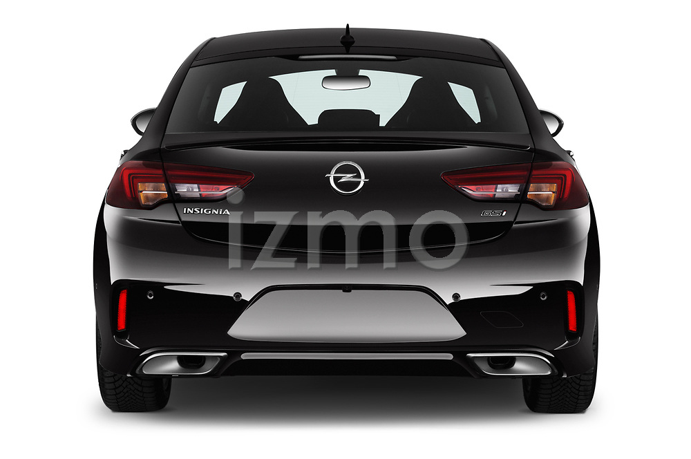 Straight rear view of 2019 Opel Insignia-Grand-Sport GSI 5 Door Hatchback Rear View  stock images