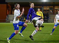 20180126 - OOSTAKKER , BELGIUM : Anderlecht's Elke Van Gorp (r) pictured in a duel with Gent's Jody Vangheluwe (left) during the quarter final of Belgian cup 2018 , a womensoccer game between KAA Gent Ladies and RSC Anderlecht , at the PGB stadion in Oostakker , friday 27 th January 2018 . PHOTO SPORTPIX.BE | DAVID CATRY
