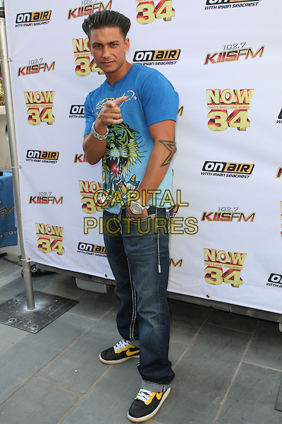 "PAUL ""PAULY D"" DELVECCHIO.KIIS-FM Hosts ""Now 34 And The Jersey Shore"" Pool Party held at Hollywood Tower, Hollywood, CA , USA, .10th July 2010..Full length blue ed hardy t-shirt jeans hand finger pointing gesture in pocket trainers back yellow nike .CAP/ADM/KB.©Kevan Brooks/AdMedia/Capital Pictures."