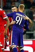 September 12th 2017, Munich, Germany, Champions League football, Bayern Munich versus Anderlecht; Lukasz Teodorczyk forward of RSC Anderlecht and Robert Lewandowski of Bayern Munchen  hug after the match