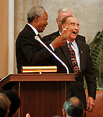 Washington, DC - September 23, 1998 -- President Nelson Mandela of South Africa, left, shares a laugh with United States Senator Strom Thurmond (Republican of South Carolina) following the Congressional Gold Medal Ceremony honoring President Mandela in the United States Capitol Rotunda on Wednesday, September 23, 1998...Credit: Ron Sachs / CNP