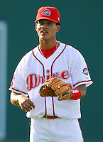 4 June 2007: Pedro Vasquez of the Greenville Drive, Class A South Atlantic League affiliate of the Boston Red Sox, in a game against the Kannapolis Intimidators at West End Field in Greenville, S.C. Photo by:  Tom Priddy/Four Seam Images