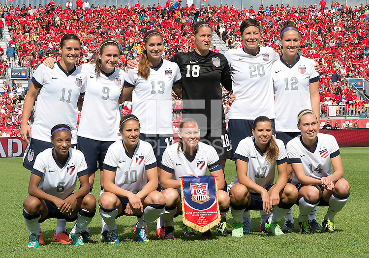 02 June 2013: The U.S. Women's National Team starting eleven during an International Friendly soccer match between the U.S. Women's National Soccer Team and the Canadian Women's National Soccer Team at BMO Field in Toronto, Ontario.<br /> The U.S. Women's National Team Won 3-0.