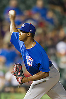Iowa Cubs pitcher Alberto Cabrera (22) delivers a pitch to the plate against the Round Rock Express in the Pacific Coast League baseball game on July 21, 2013 at the Dell Diamond in Round Rock, Texas. Round Rock defeated Iowa 3-0. (Andrew Woolley/Four Seam Images)