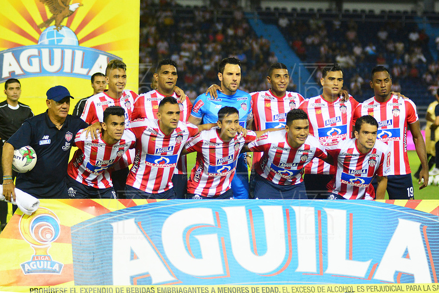 BARRANQUILLA - COLOMBIA, 16-02-2019: Los jugadores de Atlético Junior, posan para una foto, antes de partido de la fecha 5 entre Atlético Junior y Rionegro Águilas Doradas, por la Liga Águila I-2019, jugado en el estadio Metropolitano Roberto Meléndez de la ciudad de Barranquilla. / The players of Atletico Junior, pose for a photo, prior a match of the 5th date between Atletico Junior and Rionegro Aguilas Doradas, for the Aguila Leguaje I-2019 at the Metropolitano Roberto Melendez Stadium in Barranquilla city, Photo: VizzorImage / Alfonso Cervantes / Cont.