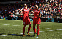 Portland, OR - Saturday September 02, 2017: Nadia Nadim, Christine Sinclair celebrate a goal during a regular season National Women's Soccer League (NWSL) match between the Portland Thorns FC and the Washington Spirit at Providence Park.