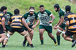 Peter White has support as he brings the ball forward. Counties Manukau Premier Counties Power Club Rugby Round 4 game between Bombay and Manurewa, played at Bombay on Saturday March 31st 2018. <br /> Manurewa won the game 25 - 17 after trailing 15 - 17 at halftime.<br /> Bombay 17 - Ki Anufe, Chay Macwood tries, Tim Cossens, Ki Anufe conversions,  Ki Anufe penalty. <br /> Manurewa Kidd Contracting 25 - Peter White 2 , Willie Tuala 2 tries, James Faiva conversion,  James Faiva penalty.<br /> Photo by Richard Spranger.