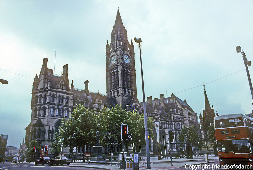 Manchester: Town Hall, Victorian, Neo-Gothic completed by Alfred Waterhouse in 1877. Extension added in 1938. Photo '90.