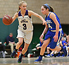 Jillian Colucci #3 of Port Jefferson, left, gets pressured during the NYSPHSAA varsity girls basketball Class C Southeast Regional Final against Haldane at SUNY Old Westbury on Thursday, March 9, 2017. She scored 6 points in the Lady Royals' 43-30 win.