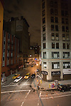 View of Broadway at 27th Street by night, New York, USA.
