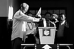 DURBAN, SOUTH AFRICA - APRIL 27: Nelson Mandela casts his historic vote in a small voting station on April 27, 1994 at Oshlange High School outside Durban, South Africa. The historic democratic election was held on April 27, 1994 and Mr. Mandela and his party, the African National Congress, won. Mr. Mandela became the first black democratic elected president in South Africa. He retired from office after one term in June 1999. (Photo by Per-Anders Pettersson)