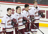 Casey Fitzgerald (BC - 5), Michael Kim (BC - 4), Luke McInnis (BC - 3), Scott Savage (BC - 2) - The visiting University of Vermont Catamounts tied the Boston College Eagles 2-2 on Saturday, February 18, 2017, Boston College's senior night at Kelley Rink in Conte Forum in Chestnut Hill, Massachusetts.Vermont and BC tied 2-2 on Saturday, February 18, 2017, Boston College's senior night at Kelley Rink in Conte Forum in Chestnut Hill, Massachusetts.