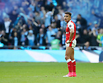 Arsenal's Alexis Sanchez looks on dejected after Manchester City's opening goal during the FA Cup Semi Final match at Wembley Stadium, London. Picture date: April 23rd, 2017. Pic credit should read: David Klein/Sportimage