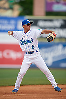 Lexington Legends shortstop Matt Morales (6) throws to first base during a game against the Rome Braves on May 23, 2018 at Whitaker Bank Ballpark in Lexington, Kentucky.  Rome defeated Lexington 4-1.  (Mike Janes/Four Seam Images)