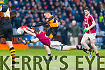 Francis McEldowney, Slaughtneil, attempts to block a shot by Greg Horan Austin Stacks in action against  Slaughtneil in the All Ireland Club Football Semi Final in Portlaoise on Sunday.