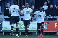 Phil Roberts (centre) celebrates scoring Dartford's second goal during Dartford vs Woking, Vanarama National League South Football at Princes Park on 23rd February 2019
