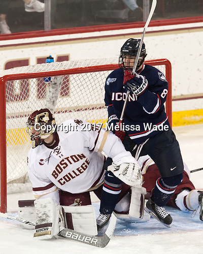 Joe Woll (BC - 31), Spencer Naas (UConn - 8) (McPhee) - The Boston College Eagles defeated the visiting UConn Huskies 2-1 on Tuesday, January 24, 2017, at Kelley Rink in Conte Forum in Chestnut Hill, Massachusetts.