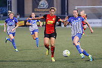 Rochester, NY - Friday May 27, 2016: Western New York Flash forward Lynn Williams (9) and Boston Breakers defender Julie King (8). The Western New York Flash defeated the Boston Breakers 4-0 during a regular season National Women's Soccer League (NWSL) match at Rochester Rhinos Stadium.