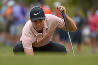 Lucas Bjerregaard (DEN) lines up his putt on 1 during day 3 of the WGC Dell Match Play, at the Austin Country Club, Austin, Texas, USA. 3/29/2019.<br /> Picture: Golffile | Ken Murray<br /> <br /> <br /> All photo usage must carry mandatory copyright credit (© Golffile | Ken Murray)