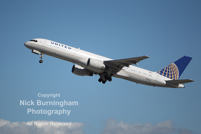 LOS ANGELES, CALIFORNIA, USA - JANUARY 28, 2013: A United Airlines Boeing 757-222 takes off from Los Angeles Airport on January 28, 2012 in Los Angeles, CA. The plane seats 200 passengers with a range of 3,900 miles.