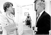 United States President Bill Clinton confers with Attorney General Janet Reno in the Oval Office of the White House in Washington, D.C. on Thursday, April 15, 1993.  Reno, a former Dade County, Florida, prosecutor, has been widely praised for her tough approach to fighting crime.<br /> Credit: White House via CNP