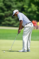 Bethesda, MD - June 26, 2016: Harold Varner III (USA) hits a putt for par on hole one during Final Round of play at the Quicken Loans National Tournament at the Congressional Country Club in Bethesda, MD, June 26, 2016. (Photo by Philip Peters/Media Images International)