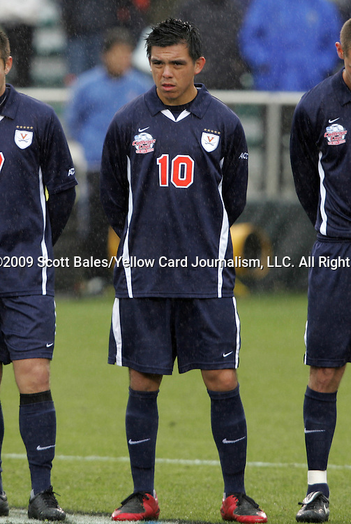 13 December 2009: Virginia's Jonathan Villanueva. The University of Akron Zips played the University of Virginia Cavaliers at WakeMed Soccer Stadium in Cary, North Carolina in the NCAA Division I Men's College Cup Championship game.