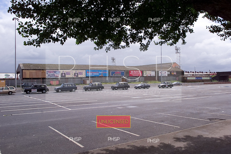 23/06/2000 Blackpool FC Bloomfield Road Ground..West/South Stands from Lonsdale rd car park.....© Phill Heywood.
