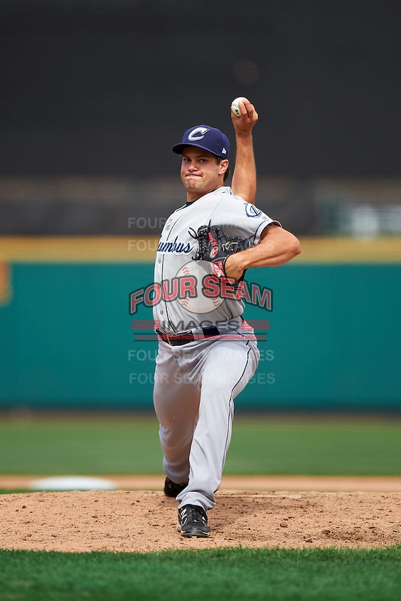 Columbus Clippers relief pitcher Jeff Johnson (40) delivers a pitch during a game against the Rochester Red Wings on June 16, 2016 at Frontier Field in Rochester, New York.  Rochester defeated Columbus 6-2.  (Mike Janes/Four Seam Images)