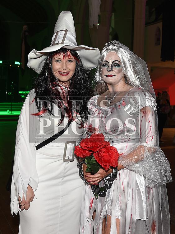Theresa Mullarkey and Tracy Dunne at the Halloween Ball in the old church Ardee in aid of St. Mary's GAA club. Photo:Colin Bell/pressphotos.ie