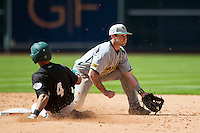 Baylor Bears shortstop Steven McLean (2) waits for the throw while Hawaii Rainbow Warriors baserunner Matt LoCoco (4) slides into second base during Houston College Classic on March 6, 2015 at Minute Maid Park in Houston, Texas. Hawaii defeated Baylor 2-1. (Andrew Woolley/Four Seam Images)