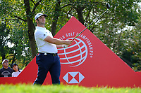 Jon Rahm (ESP) on the 18th tee during the 1st round at the WGC HSBC Champions 2018, Sheshan Golf CLub, Shanghai, China. 25/10/2018.<br /> Picture Phil Inglis / Golffile.ie<br /> <br /> All photo usage must carry mandatory copyright credit (&copy; Golffile | Phil Inglis)