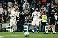 30th October 2019; Estadio Santiago Bernabeu, Madrid, Spain; La Liga Football, Real Madrid versus Leganes; Eden Hazard (Real Madrid)  Pre-match warm-up  - Editorial Use