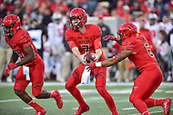 College Park, MD - NOV 12, 2016: Maryland Terrapins quarterback Caleb Rowe (7) hands the ball off to Maryland Terrapins running back Ty Johnson (6) during game between Maryland and Ohio State at Capital One Field at Maryland Stadium in College Park, MD. (Photo by Phil Peters/Media Images International)