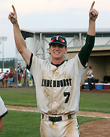 June 12, 2010:  Lindenhurst first baseman Jon McGibbon (7) celebrates after defeating Guilderland during the NYSPHAA Class-AA State Championship game at Binghamton University in Binghamton, NY.  Lindenhurst defeated Guilderland by the score of 15-2.  McGibbon was seleced in the 29th round by the Seattle Mariners of the 2010 MLB draft but chose to attend Clemson University to play for the Bulldogs.  Photo By Mike Janes/Four Seam Images