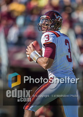 2 November 2013: Virginia Tech Hokies quarterback Logan Thomas (3) looks downfield for an open receiver in the first quarter against the Boston College Eagles at Alumni Stadium in Chestnut Hill, MA. Mandatory Credit: Ed Wolfstein-USA TODAY Sports *** RAW (NEF) Image File Available ***
