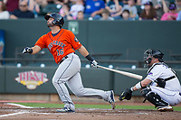 Anthony Hermelyn 16 of the Buies Creek Astros follows through on his swing against the Winston-Salem Dash at BB&T Ballpark on April 15, 2017 in Winston-Salem, North Carolina.  The Astros defeated the Dash 13-6.  (Brian Westerholt/Four Seam Images)