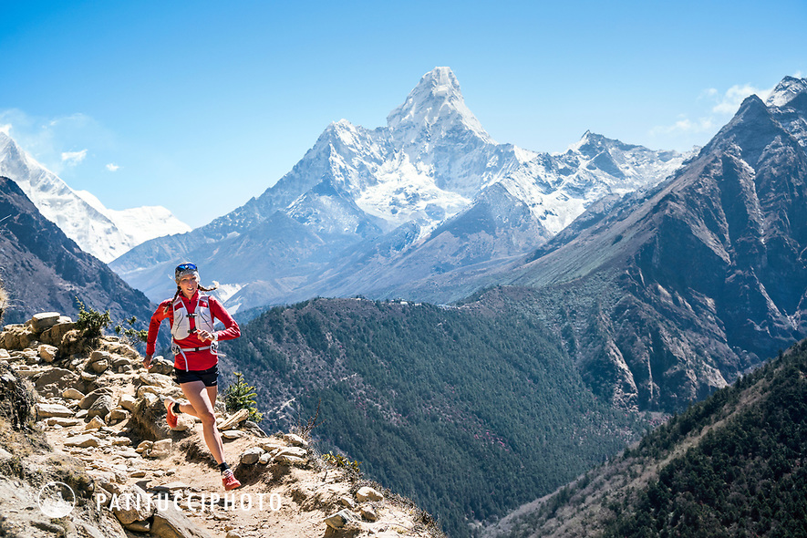 Trail running in Nepal's Khumbu Valley with views of Ama Dablam.
