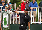CROMWELL, CT. 20 June 2019-062019 - PGA Tour player Bubba Watson yells out fore right after hitting his tee shot on the first hole, during the first round of the Travelers Championship at TPC River Highlands in Cromwell on Thursday. Bill Shettle Republican-American