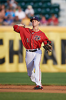 Harrisburg Senators shortstop Carter Kieboom (5) throws to first base during a game against the Akron RubberDucks on August 18, 2018 at FNB Field in Harrisburg, Pennsylvania.  Akron defeated Harrisburg 5-1.  (Mike Janes/Four Seam Images)