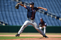 Cal State Fullerton Titans pitcher Tyler Peitzmeier (51) delivers a pitch during a game against the Louisville Cardinals on February 15, 2015 at Bright House Field in Clearwater, Florida.  Cal State Fullerton defeated Louisville 8-6.  (Mike Janes/Four Seam Images)