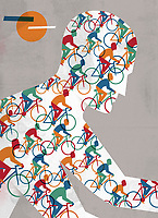 Close up of lots of cyclists in pattern over man cycling